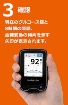現在のグルコース値と8時間の履歴、血糖変動の傾向を示す矢印が表示されます。